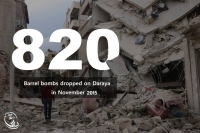 820 barrel bombs dropped on Daraya in November 2015